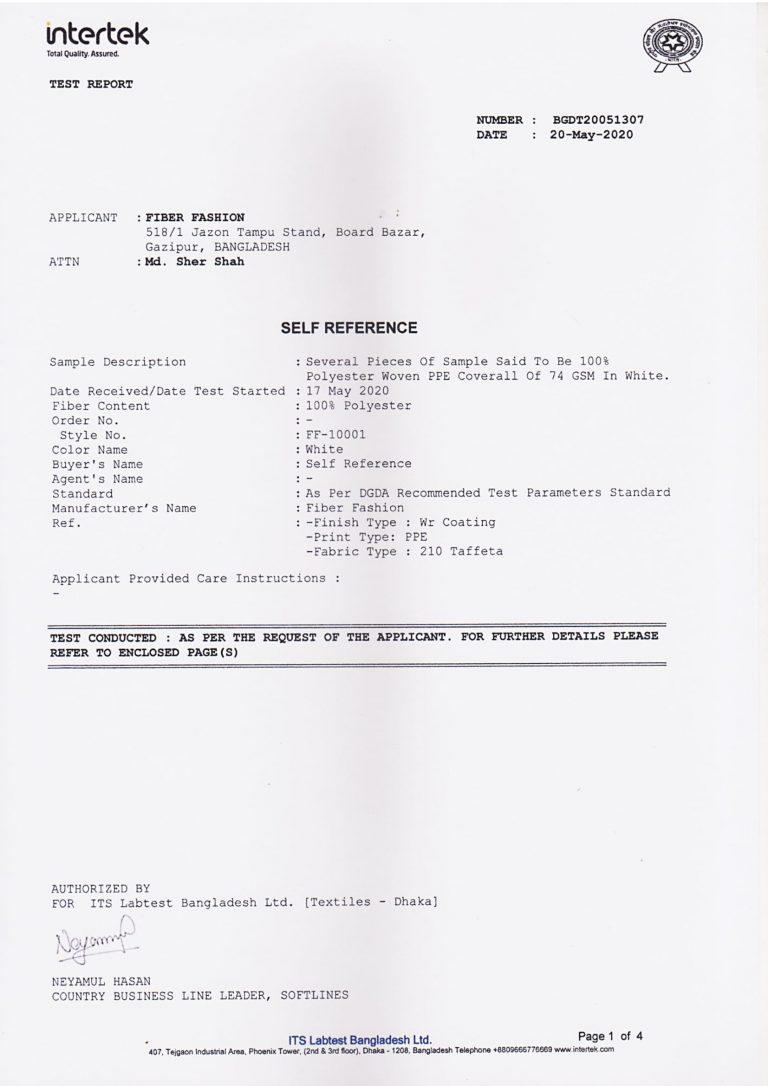 Fiber Fashion PPE Certification 1